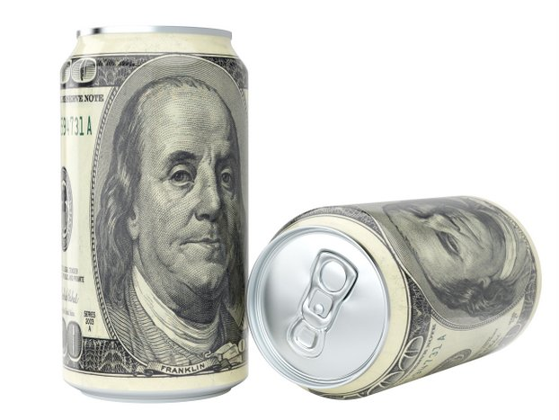 Can of beer wrapped in a $100 bill