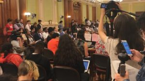 Washington D.C. City Council hearing packed with witnesses.