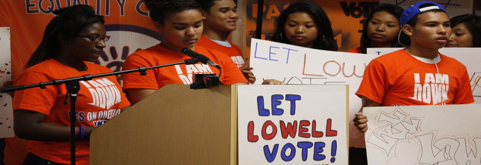 Members of the United Teen Equality Center give a press conference on their campaign to lower the voting age.