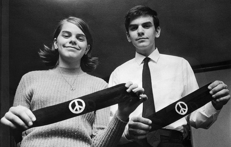 Mary Beth and John Tinker with black armbands